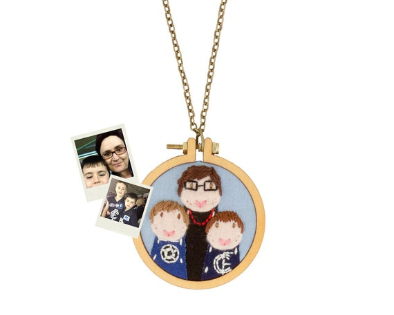 Family portrait of 3 - custom necklace or brooch - made to order - embroidered and appliqued - made with love by dandelyne