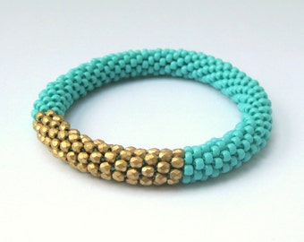 Gold and Turquoise Bead Crochet Bangle Bracelet
