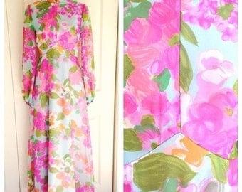 vintage hippie 1960s floral maxi dress, size small, 1960s dress, vintage maxi dress, vintage dress, 1960s, festival dress