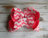 Hot Pink Chevron Hair Bow Huge Boutique Hair Bow Chevron Girls Bow Jumbo U choose color Girls Baby Toddler Wedding Birthday Holiday Pageant
