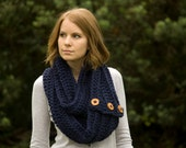 Blue Infinity Scarf with Buttons, Women's Winter Accessories, Navy Scarf