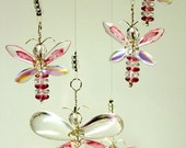 Pink Butterfly Mobile Swarovski Crystal Suncatcher Kids Hanging Mobile Glass Butterfly Ornament Baby Girl Mobile Angel Pink Fairy Mobile