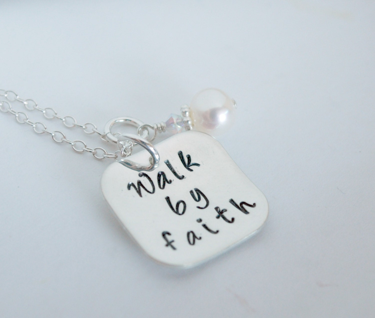 Christian Necklace Faith Jewelry Hand Stamped Sterling