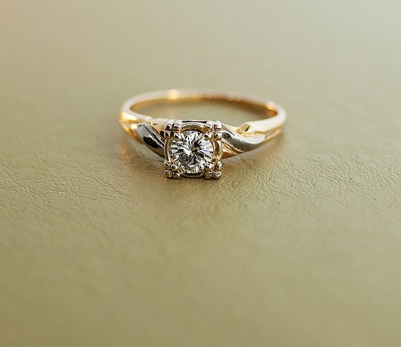 Vintage 14k Two-Tone Gold and Diamond Engagement Ring