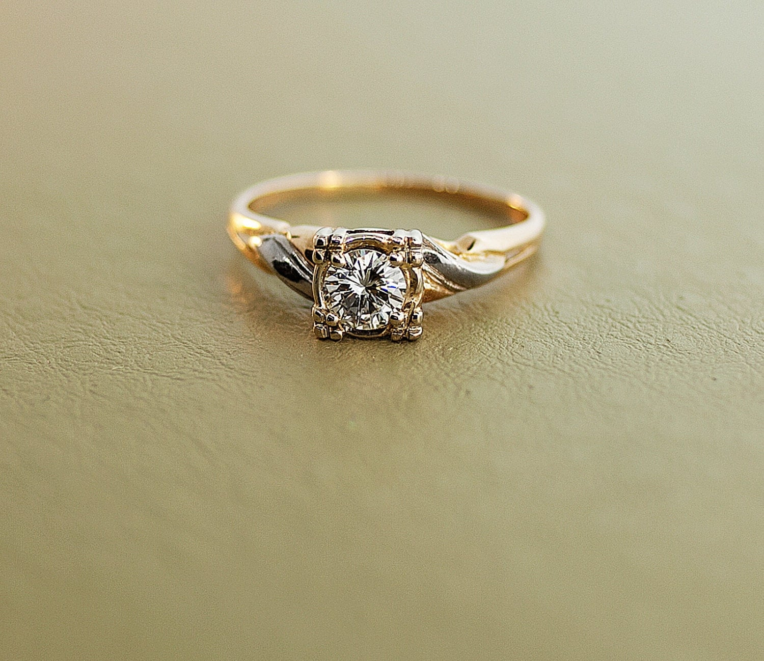 vintage 14k two tone gold and engagement ring