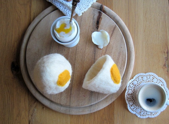 MADE TO ORDER Egg warmer egg cozy felted set white off and yellow kitchen  felt  table decor breakfast