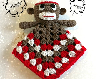 READY TO SHIP Baby Sock Monkey Security Lovey Blanket
