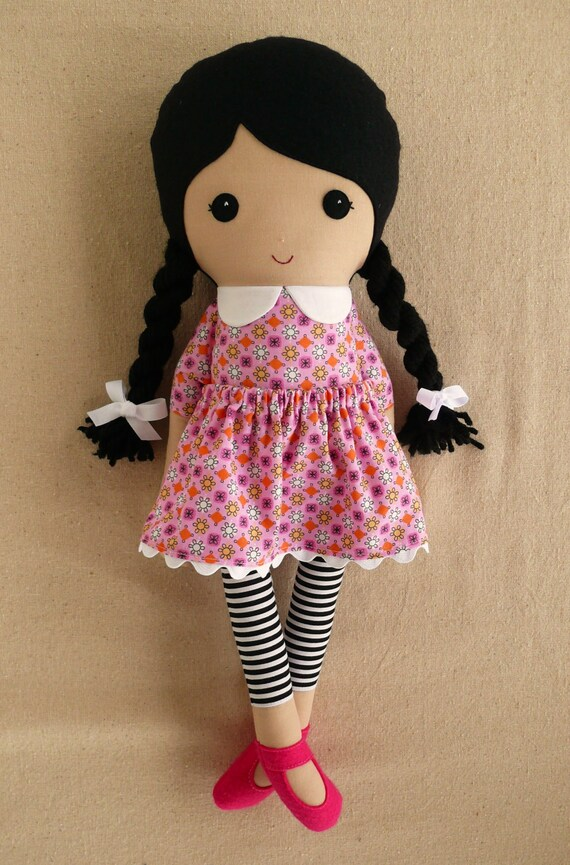 Fabric Doll Rag Doll Black Haired Girl In Pink Print Dress