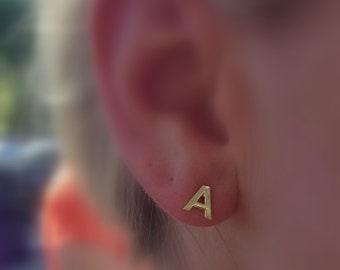 Single Initial Stud Earring // Custom Tiny Gold Initial Stud Earring