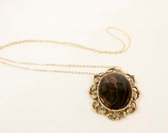 Vintage Victorian Revival Dark Brown / Chocolate Agate Semi-Precious Stone Pendant with Gold Ribbon Surround