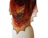 "Beautiful lace handknitted shawl in the colors of the ""Autumn tunes"""