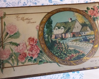 Antique For Mother Dear Chocolate Candy Tin Box Decorative Collectible Shabby Chic