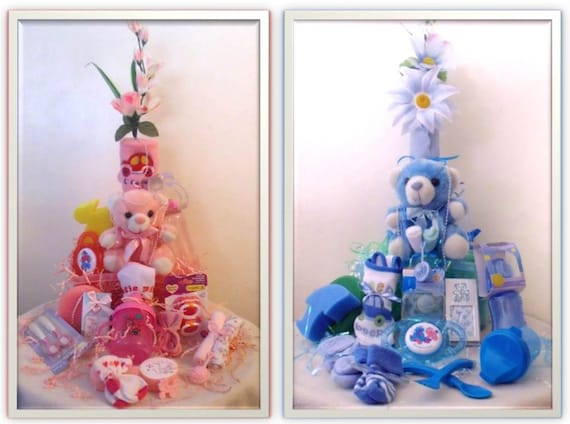 Baby Boy or Girl Gift Set- 20 Piece Basket for Baby Shower Custom Gift Wrapped