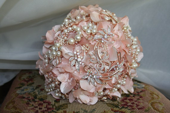 Rose Gold Bouquet Blush Brooch Bouquet With Rose Goldpearl