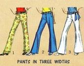 "1968 Vintage Bell-Bottom Hip-hugger Pants in 3 Widths-18"", 21"" or 24 1/2"", Dart-fitted, Cuff Option, Simplicity 7997, Waist 23"", Hip 33 1/2"""