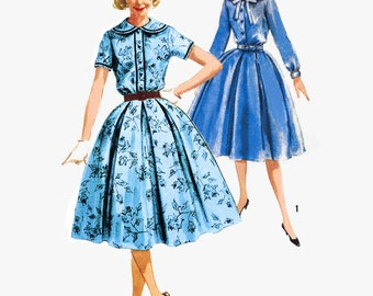 1958 Mad Men Detachable Collar Shirtwaist Dress, Soft Pleat Skirt, Short Sleeve or long with Cuff Detail, Simplicity 2683, Bust 34""