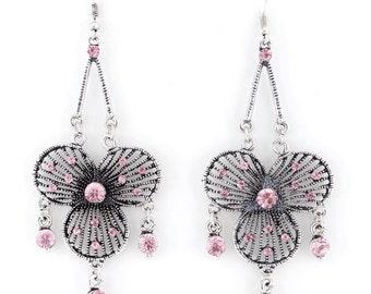 Vintage Silver-tone Pink/Blue/Green/Orange Crystal Bohemia Style Chandelier Drop LONG EARRINGS