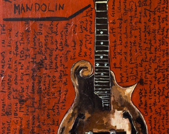 Bluegrass Mandolin Artwork. Bill Monroe's Legendary Gibson Mandolin Vintage F-5 11x17 print.
