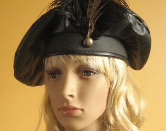 New Medieval Celtic Renaissance SCA Larp Tudor Lord Noble Leather Hat Beret Deluxe