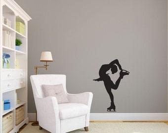 Figure Ice Skater Silhouette Sports - Wall Decal Custom Vinyl Art Stickers