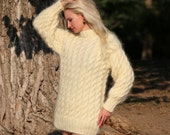 Made to order thick and fuzzy hand knitted mohair sweater in ivory by SuperTanya