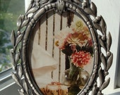 Vintage Pewter Frame For Oval Photo Or Artwork - Mint Condition