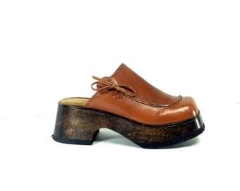 REDUCED~ Platform Wooden Clogs 7 - Brown Leather Platform Clogs 7 - Boho Mules 7