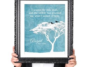 PERSONALIZED ADOPTION Quote Wall Art Print, Adoption Gift, Bird Silhouette, Family Tree Print, Blue 8x10