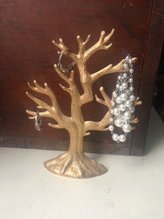 Vintage gold tree branch jewelry stand and key holder for Tree branch jewelry holder