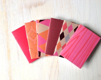 Small Notebooks: Stocking Stuffer, 6 Tiny Journals Set, Autumn, Pink, Orange, Party Favors, Wedding, Journals, For Her, Mini Journals, Small