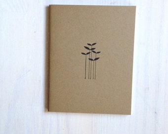 Notebook: Flowers, Reeds, For Her, For Him, Kids, Unique, Gift, Jotter, Journal, Small Notebook, New Years, Kraft, Brown, Cute, Favor