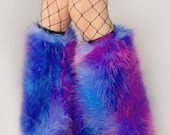 MADE TO ORDER TiE DyE Fluffy Leg Warmers Dark Bubble Gum Fluffies monster fur furry bootcovers fuzzy boots gogo rave costume hippie trippy