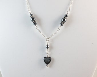 Hematite Necklace - Heart Necklace - Sterling Silver