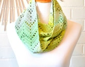 Crochet Chevron Infinity Scarf - Blue, Mint, and Yellow