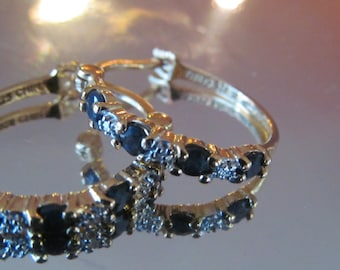 gold over  sterling silver Sapphire hoop earrings
