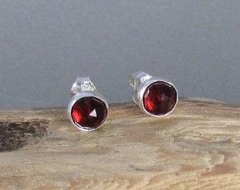 Garnet stud earrings - 6mm faceted gemstones - post earrings set in sterling silver - January birthstone