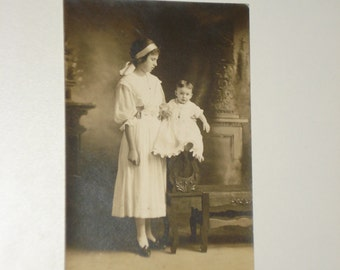 Antique Photograph - Young Girl and Baby Boy - Victorian 19th Century - Vintage Retro Decor