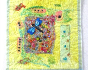 Dragon Fly Fabric Art - 11  x  11