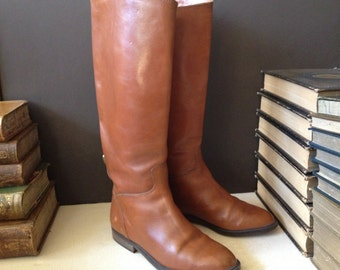 Italian Leather Riding Boots Italy Chestnut Brown Womens Size 6 US