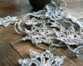 Crochet Garland, Wedding linen crochet ornaments,Wall Handing,embellishments,holiday ornaments,linen applique,Shabby chic,Wedding garland