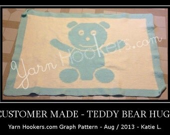 Teddy Bear Hugs - Afghan Crochet Graph Pattern Chart - Instant Download