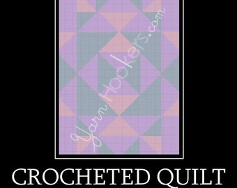 Crocheted Quilt - Afghan Crochet Graph Pattern Chart - Instant Download