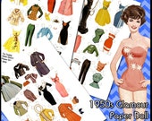 1950s Glamour Paper Doll Digital Collage Sheets - Printable vintage dress up doll with lots of clothes