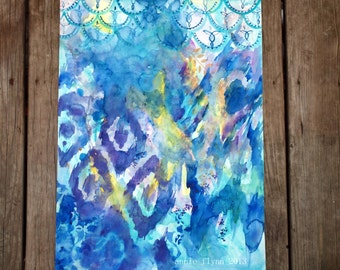 "Archival Print of Original Watercolor ""Ikat in Blue and Violet"""