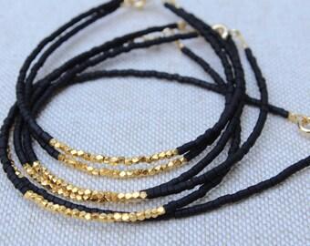 Gold Bead Bracelet. Gold Fill Bracelet. 14kt Gold Filled Bracelet. Black Beaded Gold Vermeil Bracelet. Minimalist Bracelet. Bead Bracelet
