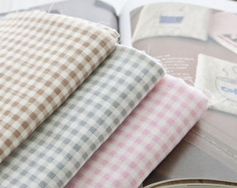 "Cotton Double Gauze Soft Plaid - Pink, Beige or Gray - By the Yard (47 x 36"") 40184"