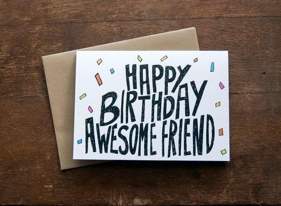 Friend Birthday Card. Happy Birthday Awesome Friend. By