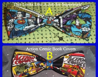 Bow Ties Made From Superman Comics Fabric - Super Taste Deserves a SUPER TIE - Choose From Two Classic BowTies - U.S.SHIPPlNG ALWAYS 1.99