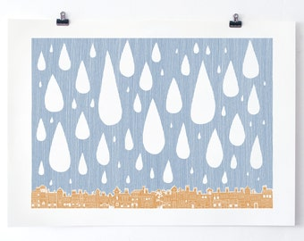 Raining in London - Original Screen Print - Water based inks - Limited edition
