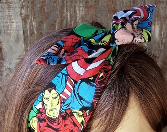 MARVEL COMIC HEADBAND Extra Wide Wire Hair Tie Wire Hair Wrap Bandana Dolly Bow Hat band Comic Nerd Gift The Avengers womens headband